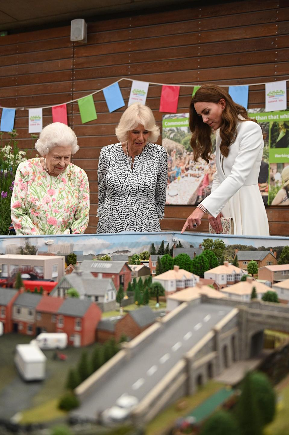 Queen Elizabeth, the Duchess of Cornwall, and the Duchess of Cambridge in 2021