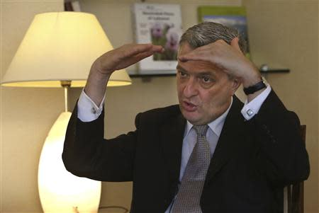 Filippo Grandi, head of the U.N. Relief and Works Agency (UNRWA), gestures during an interview in Beirut