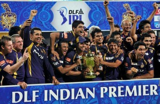Kolkata Knight Riders celebrate after winning the DLF IPL Twenty20 Champions Trophy