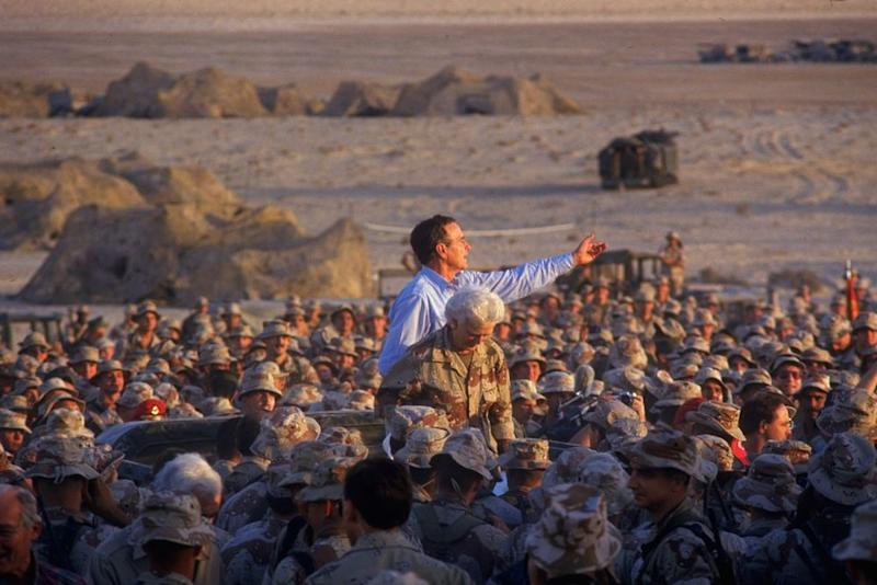 After Iraq invaded Kuwait, Bush responded by sending troops to the Persian Gulf. In November, he and Barbara visited a Marine Division in Dhahran, Saudi Arabia, above. A few months later, in February 1991, U.S. forces entered Kuwait. The war would turn out to be the most difficult foreign crises for the Bush presidency.