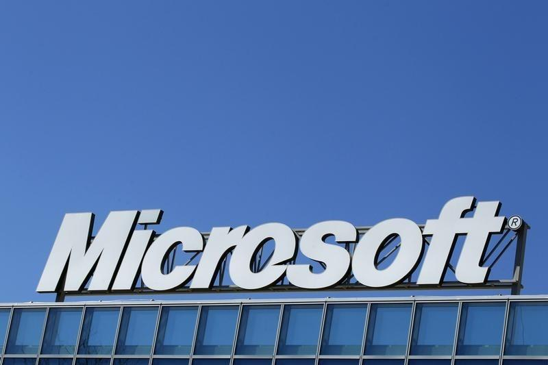 The Microsoft logo is seen at their offices in Bucharest