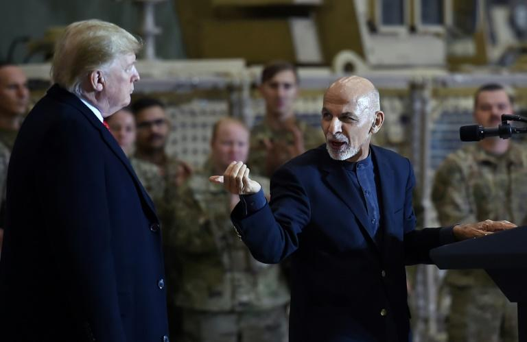 President Donald Trump made a surprise visit to Bagram on November 28 where he met with Afghan President Ashraf Ghani (R)