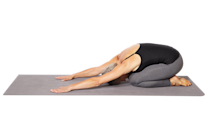 <p><strong>This stretch relaxes the low back, arms, and shoulders.</strong></p><ol><li>Begin on your hands and knees, with your hands directly under your shoulders and knees under your hips.</li><li>Walk your arms out in front of you, placing your palms flat on the floor. Slowly sit your hips back toward your heels, dropping your head and chest downward as your arms extend farther in front of you.</li><li>Hold for 20 to 30 seconds.</li></ol>