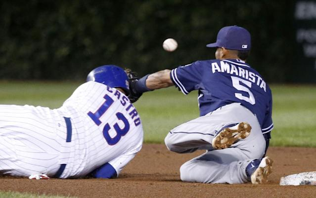 San Diego Padres shortstop Alexi Amarista (5) is unable to handle a pick off attempt by catcher Rene Rivera on Chicago Cubs' Starlin Castro at second, during the fourth inning of a baseball game Thursday, July 24, 2014, in Chicago. Castro advanced to third on the play. (AP Photo/Charles Rex Arbogast)