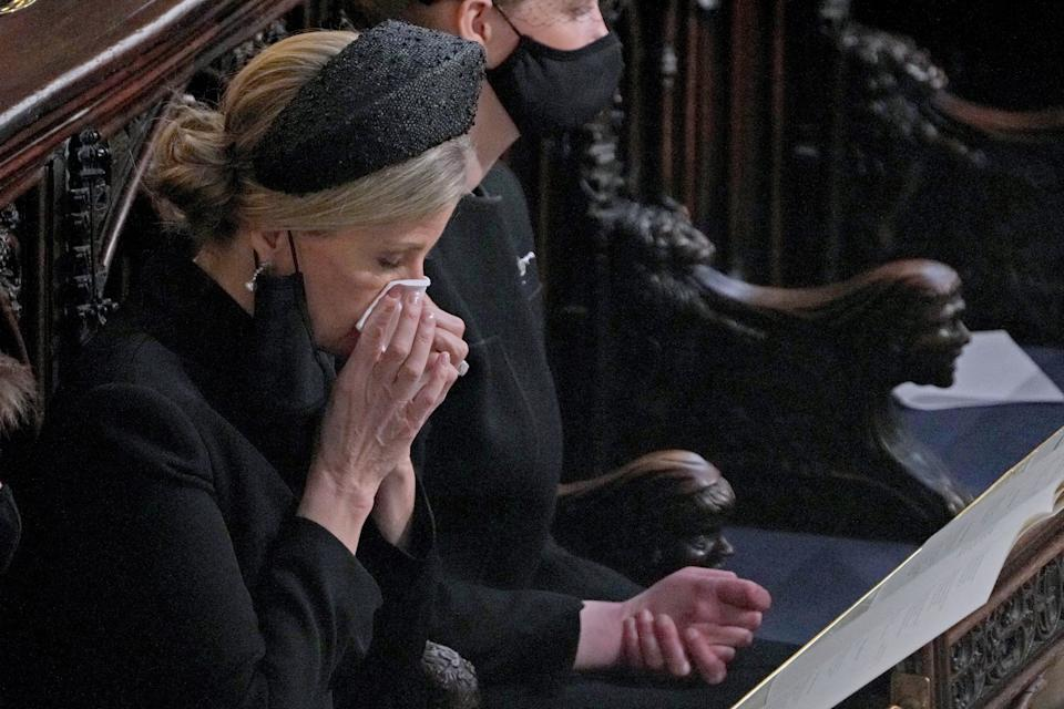 Britain's Sophie, Countess of Wessex attends the funeral service of Britain's Prince Philip, Duke of Edinburgh at St George's Chapel at Windsor Castle, Windsor, west of London, on April 17, 2021. - Philip, who was married to Queen Elizabeth II for 73 years, died on April 9 aged 99 just weeks after a month-long stay in hospital for treatment to a heart condition and an infection. (Photo by Yui Mok / POOL / AFP) (Photo by YUI MOK/POOL/AFP via Getty Images)