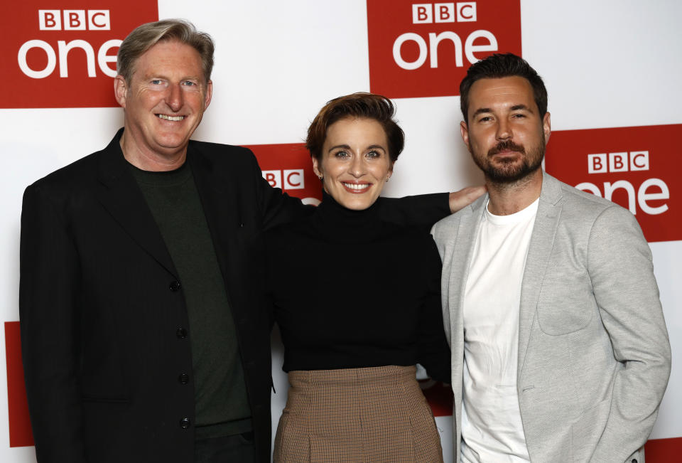 LONDON, ENGLAND - MARCH 18: Adrian Dunbar, Vicky McClure and Martin Compston attend the