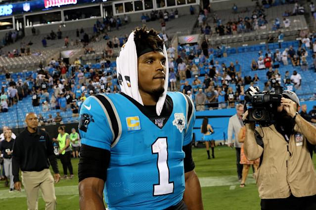 Cam Newton's re-aggravated mid-foot sprain has kept him from practicing, and will likely keep him from playing on Sunday. (Photo by John Byrum/Icon Sportswire via Getty Images)