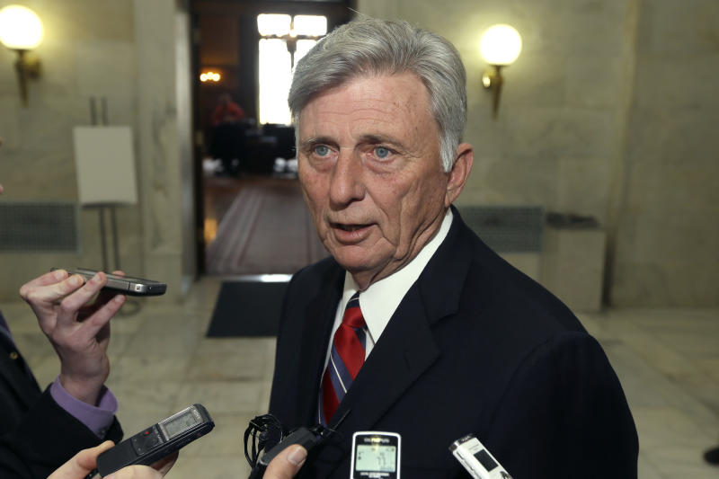 FILE - In this Monday, March 4, 2013 file photo, Gov. Mike Beebe speaks to reporters in a hallway at the Arkansas state capitol in Little Rock, Ark. after vetoing legislation that would have banned abortions 12 weeks into a pregnancy. By adopting the nation's toughest abortion law in the face of certain legal challenge, Arkansas legislators have exposed sharp tactical divisions within the national anti-abortion movement. The Arkansas ban - which would make exceptions in cases of rape, incest and certain medical contingencies - is scheduled to go into effect 90 days after the current legislative session adjourns. Beebe had vetoed the measure, but was overridden on Wednesday, March 7, 2013. (AP Photo/Danny Johnston)