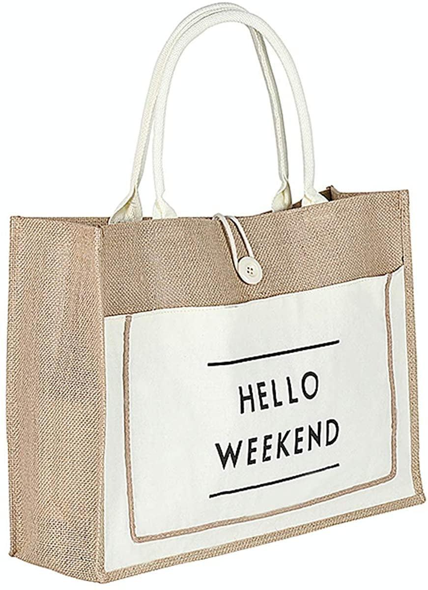 <p>This <span>Hello Weekend Beach Tote</span> ($16) can be used every day of the week.</p>