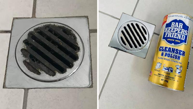 (Left) Dirty shower drain. (Right) Drain sparkling clean after transformation with Bar Keeper's Friend Cleanser and Polish item Woolworths $8