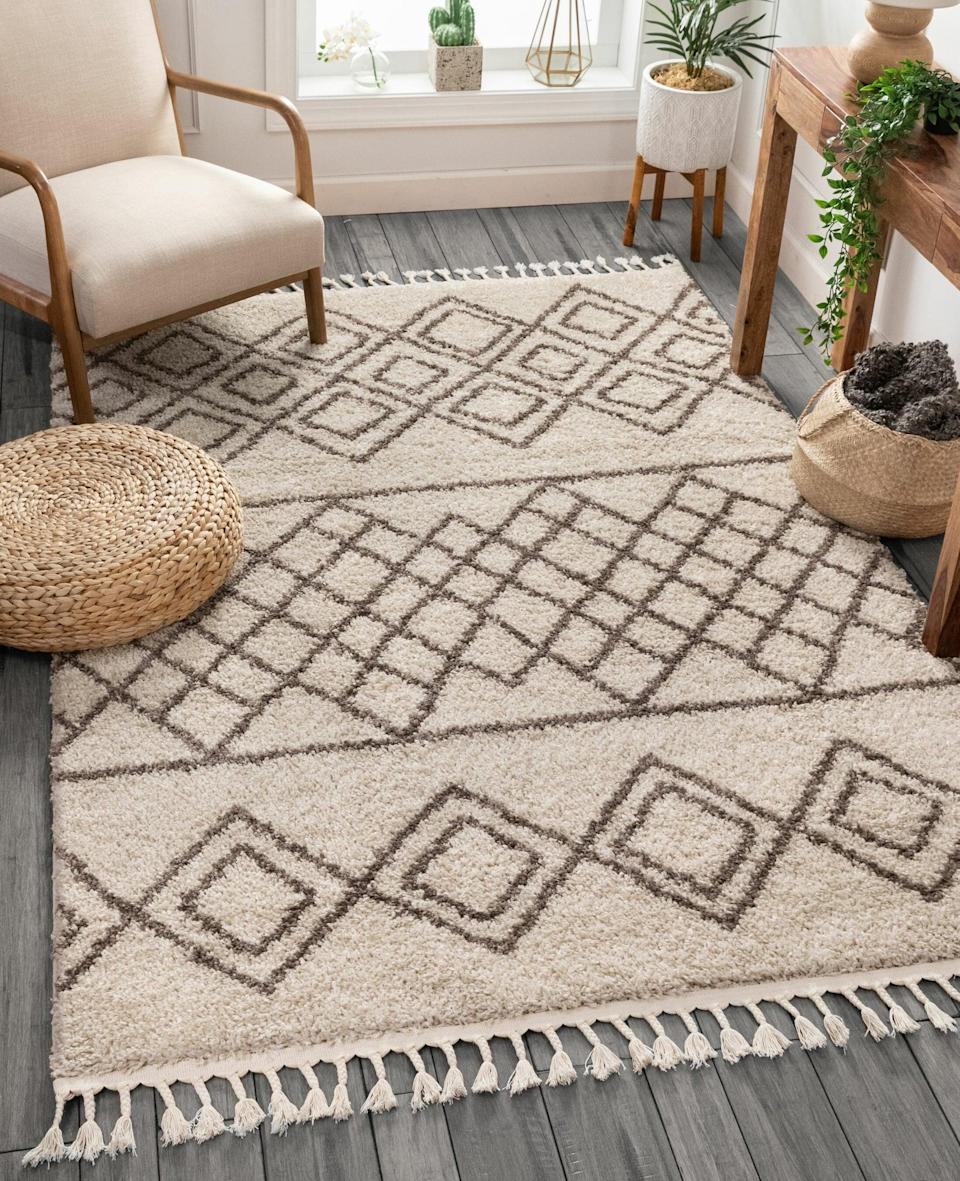 <p>The artisanal look of this <span>Cabana Radley Area Rug</span> ($66, originally $139) gives it eye-catching appeal. The cotton fringe adds texture, while the design lends it an authentic look.</p>