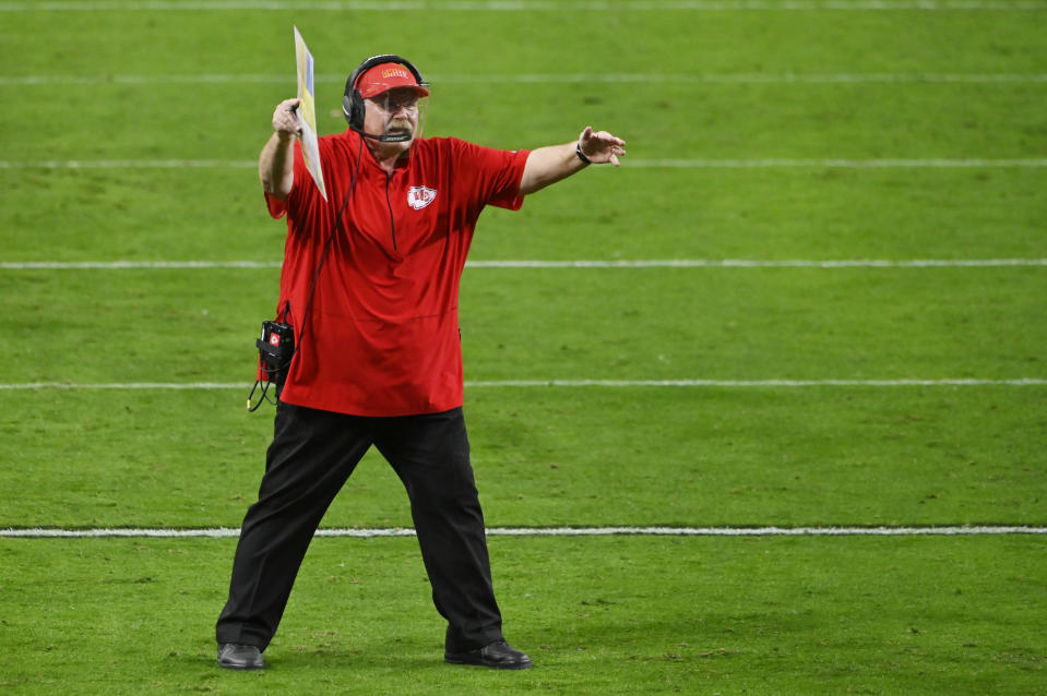 Kansas City Chiefs head coach Andy Reid reacts after a play against the Las Vegas Raiders during the second half of an NFL football game, Sunday, Nov. 22, 2020, in Las Vegas. (AP Photo/David Becker)