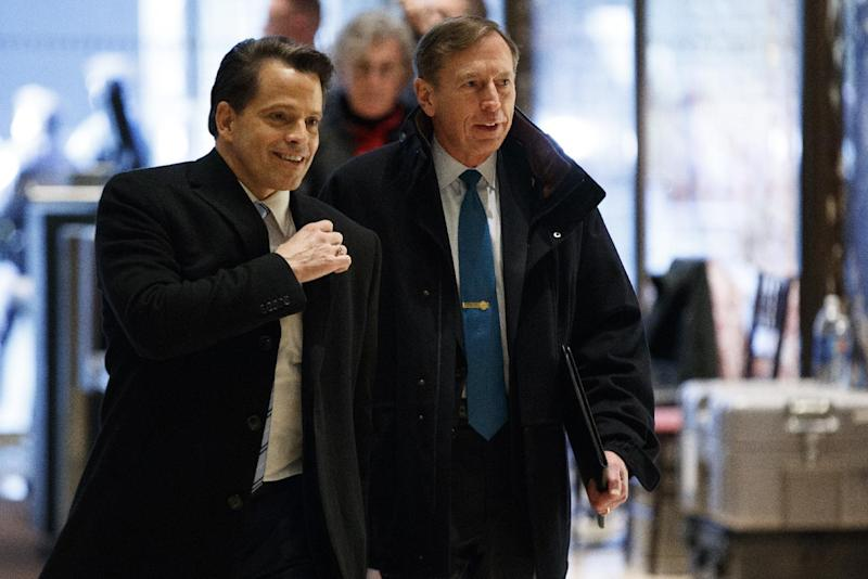 Anthony Scaramucci walks with former CIA director retired Gen. David Petraeus as he arrives at Trump Tower for a meeting with Presiden-elect Donald Trump, Monday, Nov. 28, 2016, in New York. (AP Photo/ Evan Vucci)
