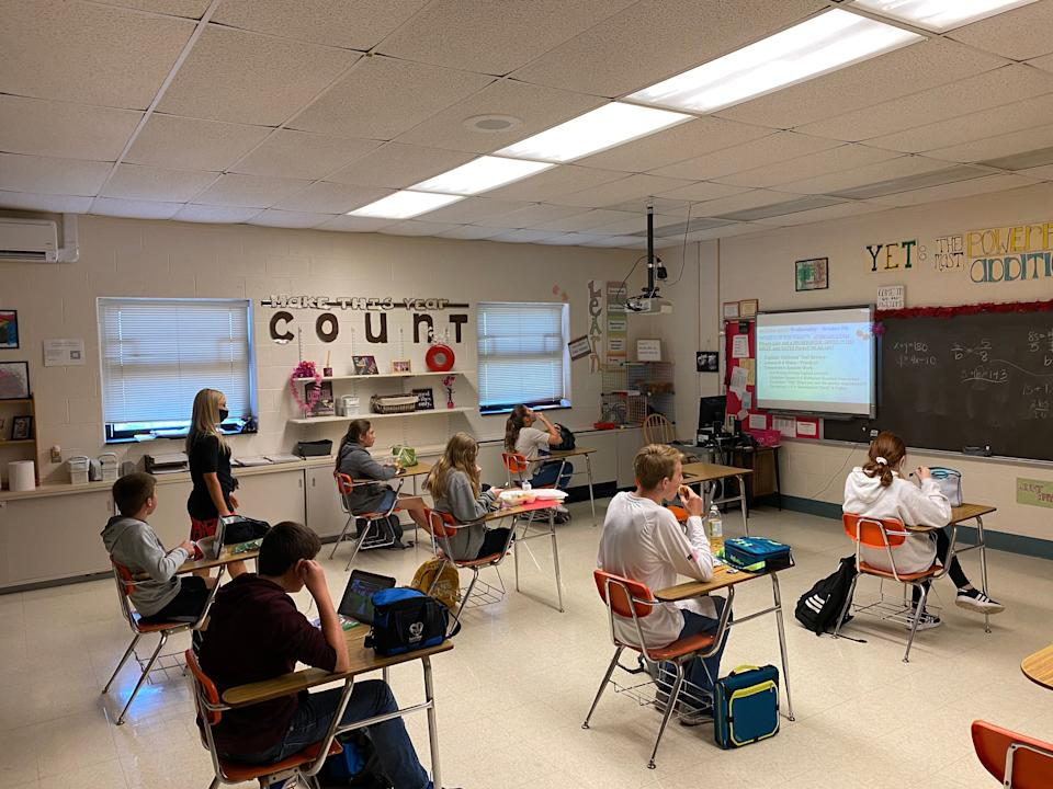 Middle school students at Bermudian Springs eat lunch in a classroom to maintain social distancing.