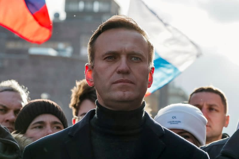 FILE PHOTO: Russian opposition politician Alexei Navalny takes part in a rally to mark the 5th anniversary of opposition politician Boris Nemtsov's murder and to protest against proposed amendments to the country's constitution, in Moscow