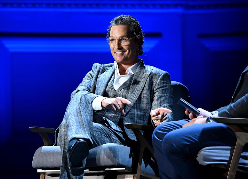 \Matthew McConaughey speaks onstage during HISTORYTalks Leadership & Legacy presented by HISTORY at Carnegie Hall on February 29, 2020 in New York City.
