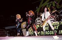 """<p>The glam rock band was known for their big hair and their skintight outfits. The Pennsylvania band started out as lead singer Bret Michaels, along with Matt Smith, Bobby Dall and Rikki Rockett. Smith left before the show got their first record deal, and was replaced with guitarist C.C. DeVille. Their debut album featured songs like """"Talk Dirty to Me"""" and """"I Want Action"""" and their follow-up """"Open Up and Say... Ahhh!"""" had the hit single """"Every Rose Has Its Thorn."""" </p>"""