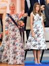 """<p><strong>Left: </strong>Crown Princess Marie Chantal wore a long-sleeved, floor-length Valentino to a gala dinner in honor of the King and Queen of Norway's 80th birthdays. </p><p><strong>Right: </strong><a href=""""https://www.townandcountrymag.com/society/politics/news/g3303/melania-trump-first-lady-style/"""" rel=""""nofollow noopener"""" target=""""_blank"""" data-ylk=""""slk:First Lady Melania Trump"""" class=""""link rapid-noclick-resp"""">First Lady Melania Trump</a> opted for a shorter version of the same Valentino floral to watch the 2017 Bastille Day military parade along Avenue des Champs-Elysees.<br></p>"""