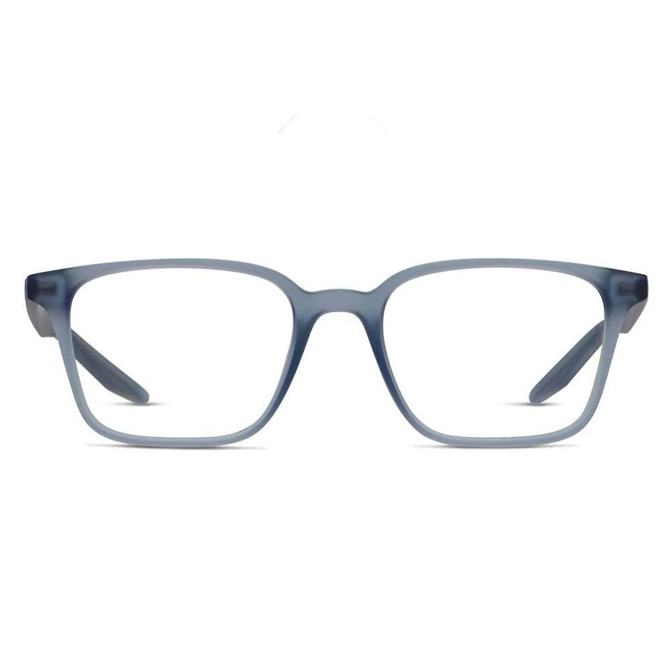 """<p><strong>Nike</strong></p><p>glassesusa.com</p><p><strong>$88.00</strong></p><p><a href=""""https://go.redirectingat.com?id=74968X1596630&url=https%3A%2F%2Fwww.glassesusa.com%2Fblueclear-medium%2Fnike-7126%2F34-003801.html&sref=https%3A%2F%2Fwww.bestproducts.com%2Fmens-style%2Fg33594937%2Fstylish-glasses-frames-for-men%2F"""" rel=""""nofollow noopener"""" target=""""_blank"""" data-ylk=""""slk:Shop Now"""" class=""""link rapid-noclick-resp"""">Shop Now</a></p><p>For a full-rimmed frame that won't weigh you down, these glasses from Nike are an obvious choice. The lightweight nylon fiber is comfortable and sporty, while the sculpted nose pads will keep your eyeglasses from sliding down.</p>"""