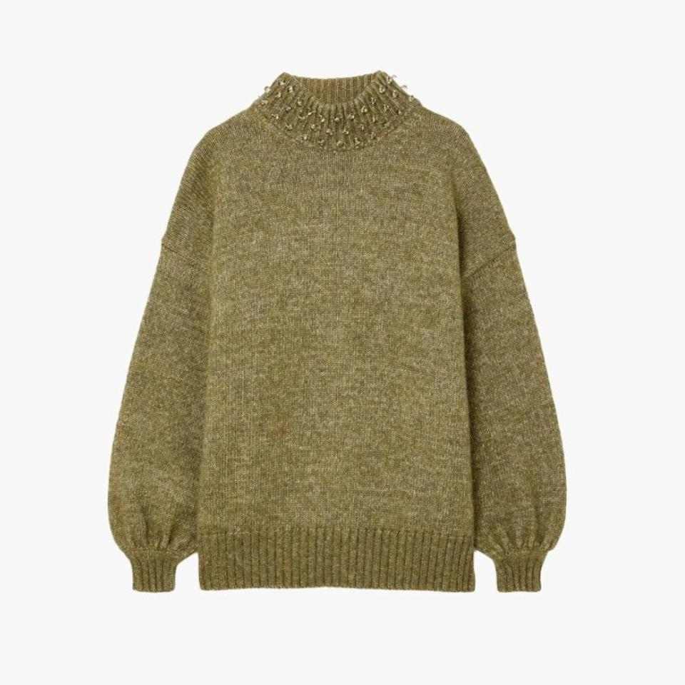 "$520, NET-A-PORTER. <a href=""https://www.net-a-porter.com/en-us/shop/product/see-by-chloe/oversized-embellished-wool-and-cotton-blend-sweater/1297167"" rel=""nofollow noopener"" target=""_blank"" data-ylk=""slk:Get it now!"" class=""link rapid-noclick-resp"">Get it now!</a>"