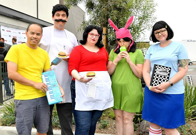 <p>Cosplayers dressed as the Belcher family attend the Bob's Burgers x Shake Shack Pop Up during Comic-Con International on July 20 in San Diego. (Photo: Dia Dipasupil/Getty Images) </p>