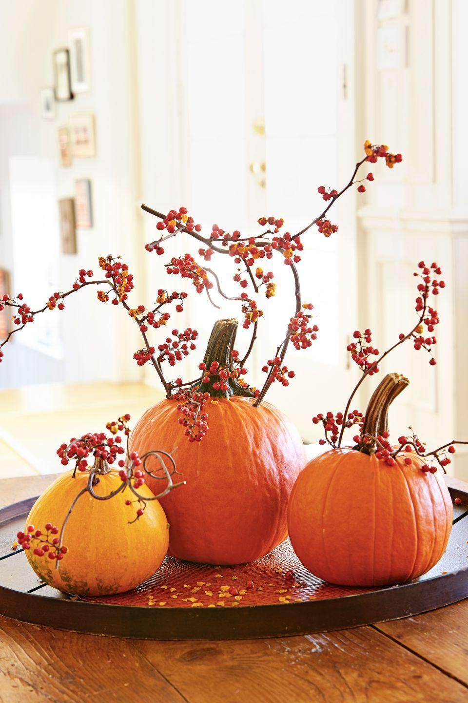 "<p>If you don't want to deal with the mess of carving, drill small holes in the rind instead. Then insert sprigs of colorful berries or <a href=""https://www.goodhousekeeping.com/holidays/halloween-ideas/g1714/no-carve-pumpkin-decorating/?slide=2"" rel=""nofollow noopener"" target=""_blank"" data-ylk=""slk:fresh flower stems"" class=""link rapid-noclick-resp"">fresh flower stems</a> for a dramatic effect. </p>"