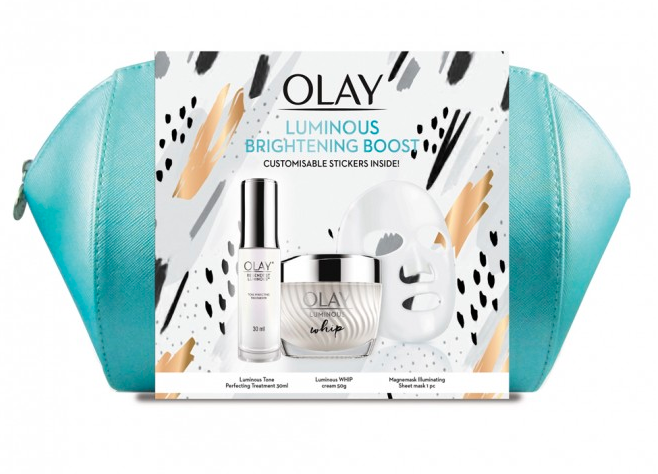 30% off Olay products at Priceline, like this Brightening Boost Gift Pack.