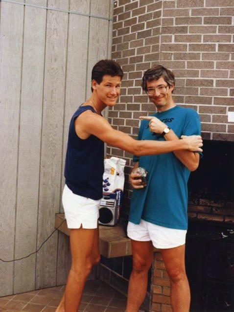 Karleton Fyfe and his uncle, Bill Tammeus, right, at a 1986 family reunion in Atlantic Beach, N.C.