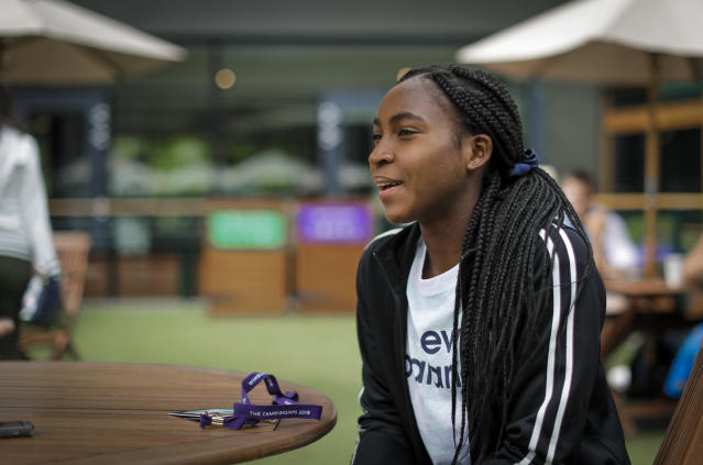 """United States' Cori """"Coco"""" Gauff speaks to The Associated Press during the Wimbledon Tennis Championships in London, Tuesday, July 9, 2019. A day after her memorable Wimbledon ended, Coco Gauff already was thinking about coming back. """"Obviously, there's always room for improvement,"""" Gauff said in an interview with The Associated Press at the All England Club on Tuesday.(AP Photo/Ben Curtis)"""