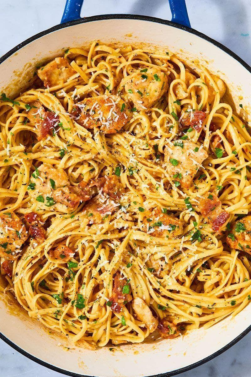 """<p>When you're looking for something comforting and carb-y, nothing fits the bill like a good carbonara. This version adds a bit of protein by way of sautéed chicken breasts, making it the perfect quick and easy weeknight dinner.</p><p>Get the <a href=""""https://www.delish.com/uk/cooking/recipes/a28909109/chicken-carbonara-pasta-recipe/"""" rel=""""nofollow noopener"""" target=""""_blank"""" data-ylk=""""slk:Chicken Carbonara"""" class=""""link rapid-noclick-resp"""">Chicken Carbonara</a> recipe.</p>"""