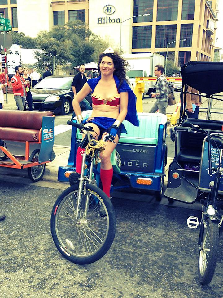 Wonder Woman is a pedicab driver #sxsw