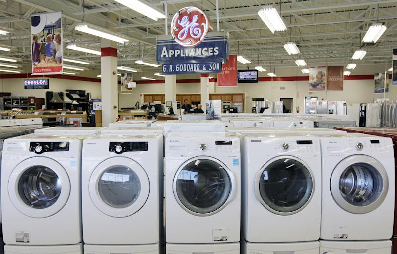 This Oct. 25, 2012 photo shows appliances on display at Orville's Home Appliances store in Amherst, N.Y.  The government's snapshot Friday, Oct. 26, 2012,  of the U.S. economy's growth will be its last before Americans choose a president in 11 days.  It probably won't sway many undecided voters. The first of three estimates of growth for the July-September quarter will likely sketch a picture that's been familiar all year: The economy is growing at a tepid rate, slowed by high unemployment, corporate anxiety over an unresolved budget crisis and a global economic slowdown. The government's report covers gross domestic product. GDP measures the nation's total output of goods and services — from restaurant meals and haircuts to airplanes, appliances and highways.  (AP Photo/David Duprey)