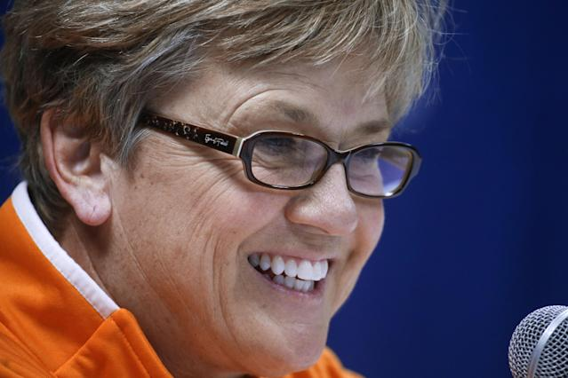 Tennessee head coach Holly Warlick answers questions during a news conference Sunday, March 23, 2014, in Knoxville, Tenn. Tennessee is scheduled to play St. John's in an NCAA women's college basketball second-round tournament game Monday. (AP Photo/John Bazemore)