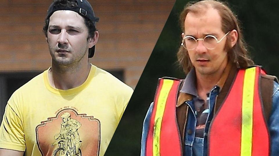 <p>LaBeouf will play a character, James Lort, based on his own father, from a screenplay he's written, so this look was basically all his idea. </p>