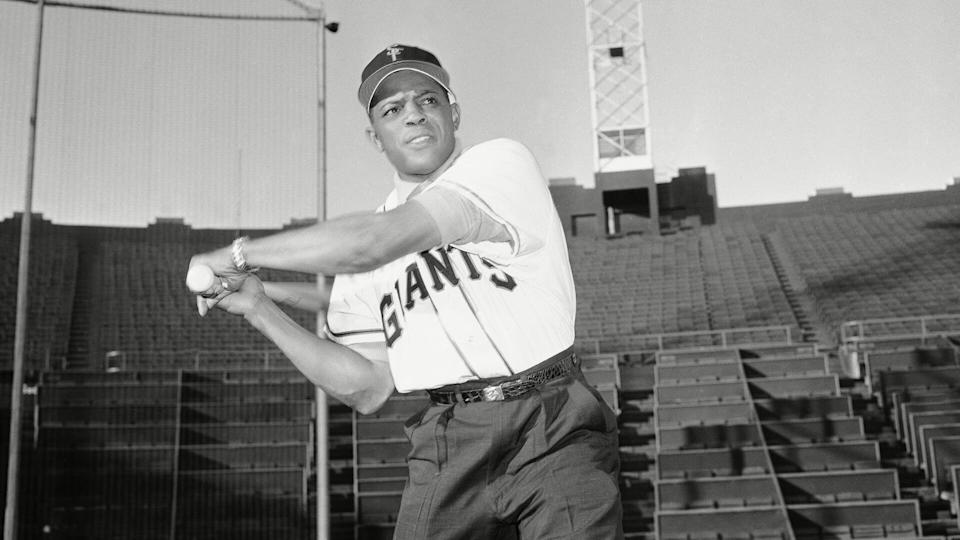 Mandatory Credit: Photo by Anonymous/AP/Shutterstock (6654017a)MWillie Mays, San Francisco Giants outfielder, swings a bat as he tries home plate at his new home, Seals Stadium in San Francisco onWillie Mays San Francisco Giants, San Francisco, USA.