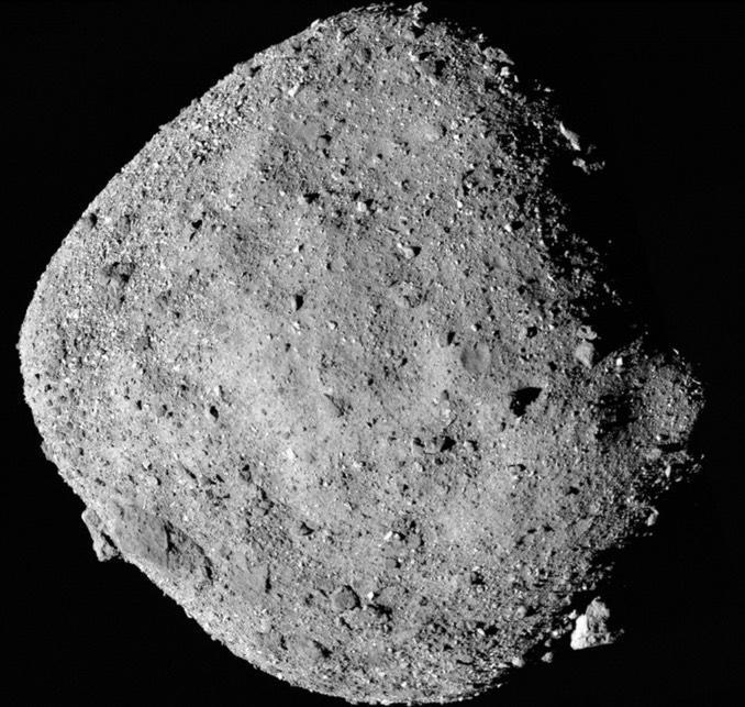 Asteroid Bennu, discovered in 1999, has a diameter of about 1,614 feet and an estimated mass of about 85.5 million tons. It rotates once every 4.3 hours and takes 1.2 years to complete one trip around the sun at distances ranging from 126 million miles to 83 million miles. / Credit: NASA