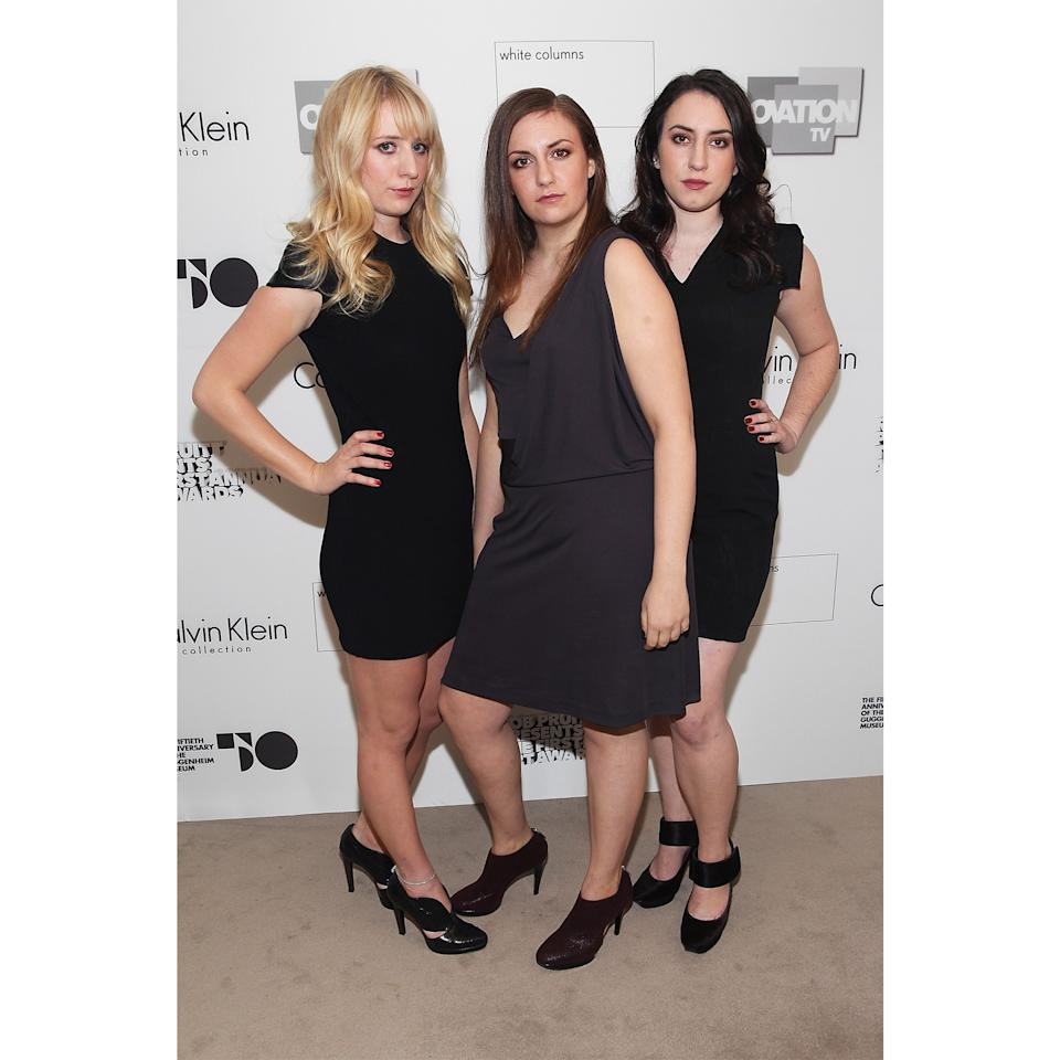 <p>Before <em>Girls</em> was even picked up by HBO, Lena Dunham starred in a web series called <em>Delusional Downtown Divas</em> with longtime friends Joana Avillez (who later illustrated her book) and Isabel Halley; the three also hit this cool girl art gala together. Back then, Dunham parted her long straight hair to the side and coordinated her smoky eye with her aubergine dress.</p>