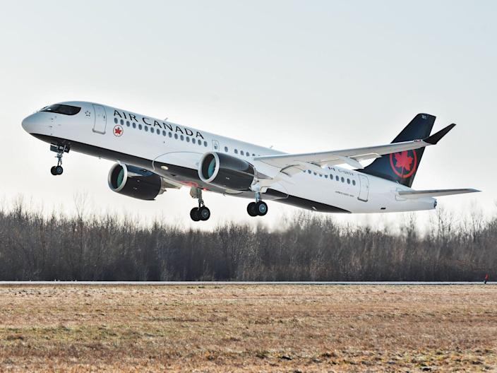 An Air Canada Airbus A220 aircraft.