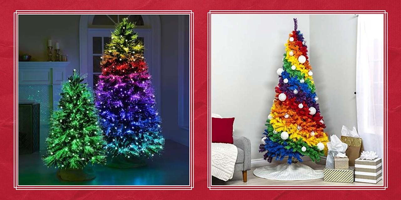 """<p>Gracing your <a href=""""https://www.countryliving.com/home-design/decorating-ideas/g28702973/christmas-living-room-decor/"""">living room</a> with a rainbow Christmas tree this holiday season might sound completely out of the question, but hear us out. <a href=""""https://www.countryliving.com/life/g2819/christmas-quotes/"""">Christmas</a> is a holiday steeped in tradition, especially when it comes to <a href=""""https://www.countryliving.com/home-design/decorating-ideas/advice/g1247/holiday-decorating-1208/"""">Christmas decorations</a>. Every year, people go to their local <a href=""""https://www.countryliving.com/life/g24108155/christmas-tree-farms-near-me/"""">Christmas tree farm</a> (or buy an <a href=""""https://www.countryliving.com/home-design/decorating-ideas/g5027/best-artificial-christmas-trees/"""">artificial tree</a>), hang <a href=""""https://www.countryliving.com/diy-crafts/how-to/g1070/easy-to-make-christmas-ornament-crafts/"""">Christmas ornaments</a> from its branches, string some <a href=""""https://www.countryliving.com/diy-crafts/g658/christmas-garlands-1208/"""">Christmas garland</a> around the house, and place a <a href=""""https://www.countryliving.com/diy-crafts/how-to/g1056/diy-wreath-ideas/"""">DIY wreath</a> on the door. And usually, all of those decorations follow a red and green color palette. But who says the holiday has to be dedicated to classic <a href=""""https://www.countryliving.com/entertaining/a29622860/christmas-colors-red-green/"""">Christmas colors</a>? If you're up for it, try something completely new and place a beautifully vivid rainbow Christmas tree in your home this year. Or perhaps you'd rather something that's still colorful but a bit more understated, like a pastel rainbow Christmas tree. Maybe your tree lights up with rainbow colors instead. Whatever you prefer, we think that a rainbow tree is a really fun, out-of-the-box alternative to a green <a href=""""https://www.countryliving.com/home-design/decorating-ideas/tips/g1251/trim-christmas-trees-1208/"""">Christmas tree"""