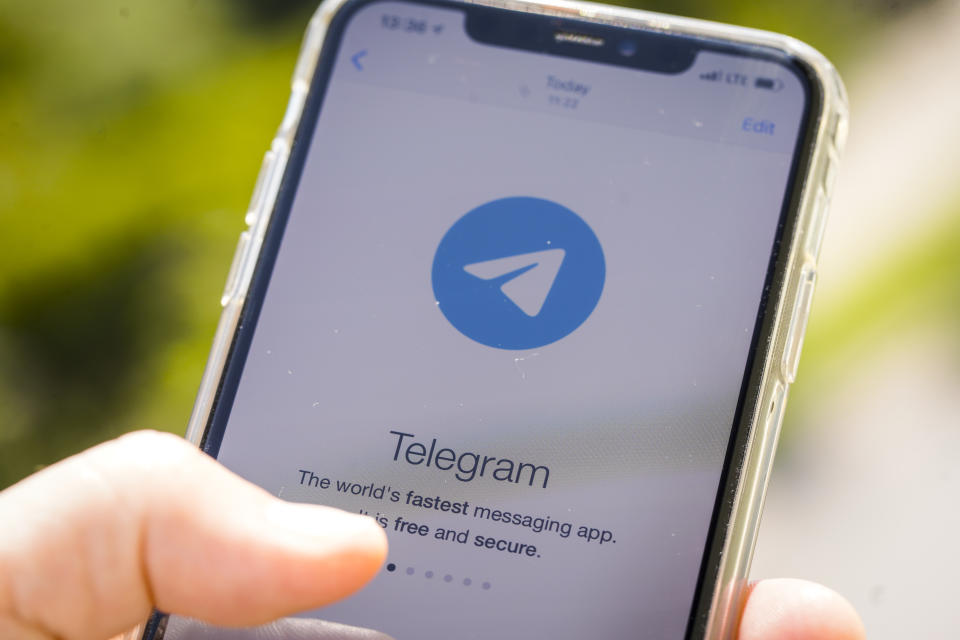 The Telegram cloud-based instant messaging application is seen on an iPhone in this photo illustration on June 26, 2020 in Warsaw, Poland. A report by the Institute for Strategic Dialogue (ISD) has found that white supremacists and extremists have been organizing racist violence in the US via the Telegram instant messaging application. Telegram is a cloud-based instant messaging app that uses encryption for messages and media during transit. (Photo by Jaap Arriens/NurPhoto via Getty Images)