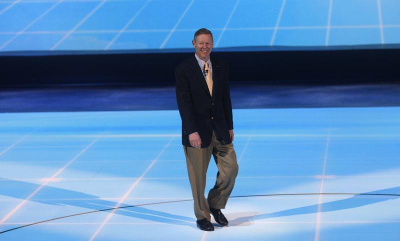 Ford Chief Executive Officer Alan Mulally arrives for his company's press availability at the North American International Auto Show in Detroit