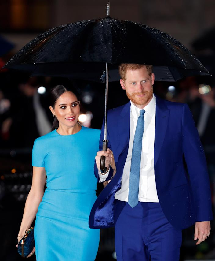 Meghan's make-up on return to the UK was often more dramatic. (Getty Images)