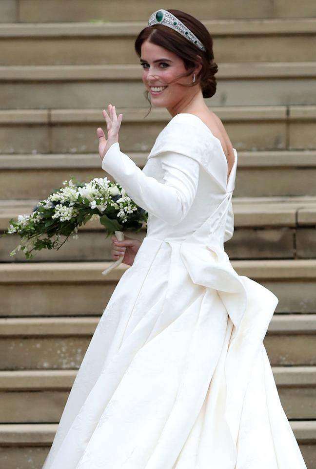 <p>When Princess Eugenie arrived looking like a queen. </p>