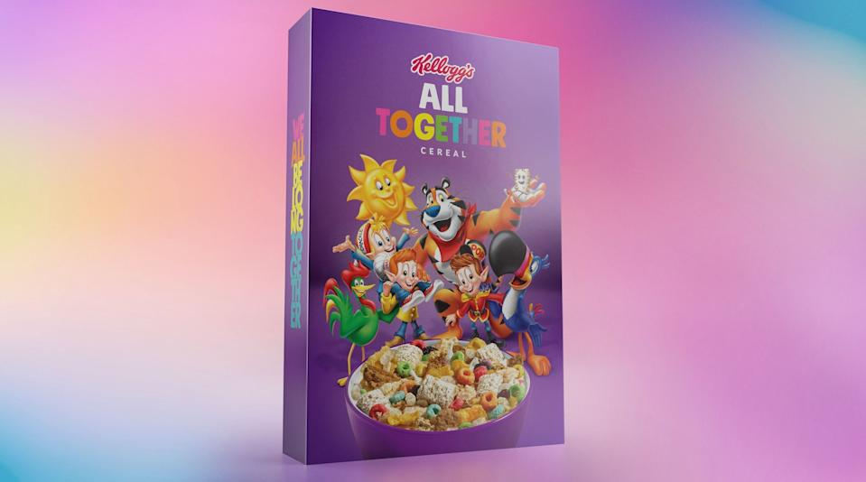 Kellogg's All Together limited edition box, featuring the company's famous mascots and cereals. (Photo: PRNewsfoto/Kellogg Company)
