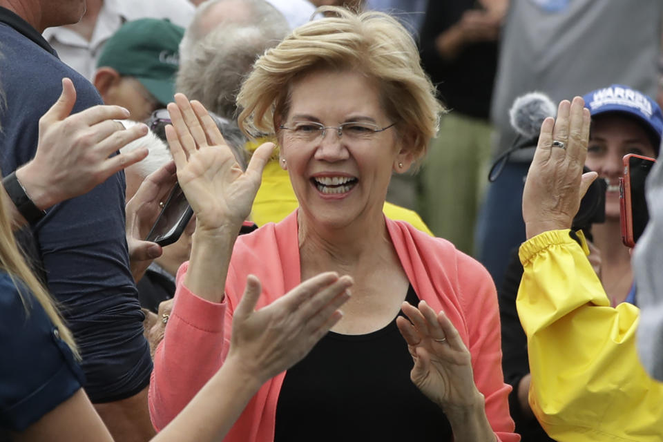 Democratic presidential candidate Sen. Elizabeth Warren, D-Mass., greets people as she arrives to a campaign event, Monday, Sept. 2, 2019, in Hampton Falls, N.H. (AP Photo/Elise Amendola)