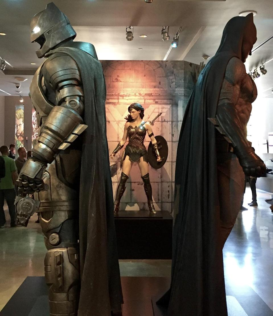<p>The <i>BvS</i> heroes have a featured place in the DC exhibition.</p>