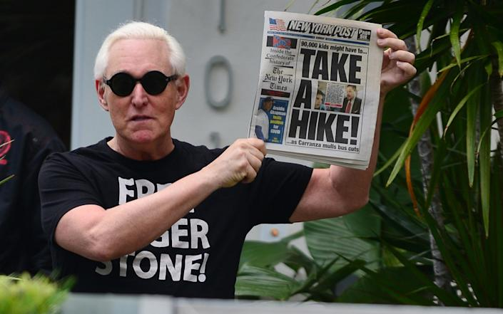 : Roger Stone makes an appearance outside his house - Johny Louis/Getty Images
