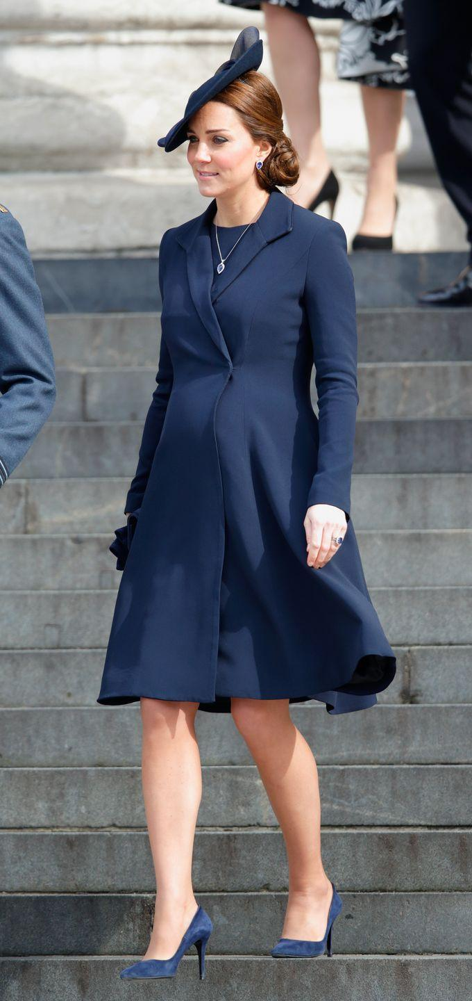 <p>Clean, classic lines were the common element of Kate Middleton's maternity choices. Often, the outfits she chose highlighted her bump — much like this elegantly cinched-waist coat. </p>