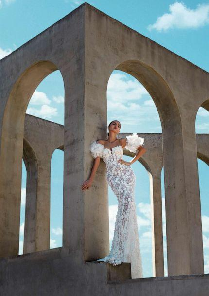 Model is wearing a bridal look from the Atelier Pronovias 'Premiere' collection. (Pronovias)