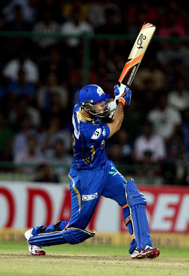 Mumbai Indians batsman in action during the CLT20 Final between Rajasthan Royals and Chennai Super Kings at Feroz Shah Kotla stadium, in Delhi on Oct. 6, 2013. (Photo: IANS)